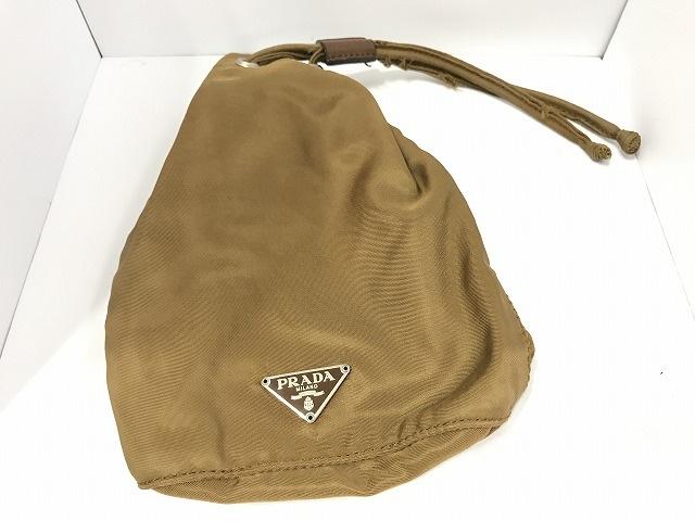 PRADA(プラダ) 小物入れ - ブラウン 巾着袋 ナイロン 0