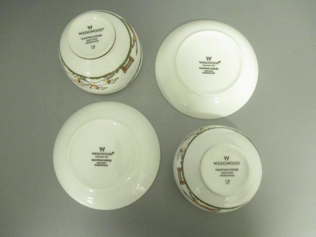 (ウェッジウッド) 【中古】 2客セット 白×グリーン×マルチ HUNTING SCENES カップ&ソーサー新品同様■ WEDG WOOD 陶器