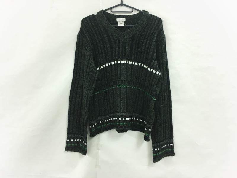 セーター カーキ×黒×マルチ____