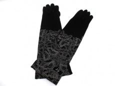 美品 LULUGUINNESS(ルルギネス) 手袋 レディース 黒×グレー