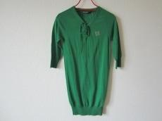 バレンシアガ 七分袖セーター 34 レディース グリーン×シルバー