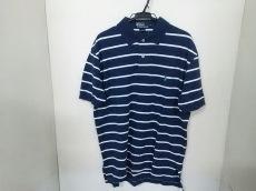 美品 ポロラルフローレン 半袖ポロシャツ メンズ M ネイビー×白
