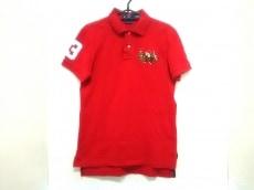 ポロラルフローレン 半袖ポロシャツ メンズ M レッド×マルチ 刺繍