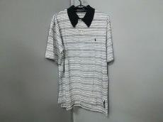 ポロラルフローレン 半袖ポロシャツ L メンズ美品  白×黒 ボーダー