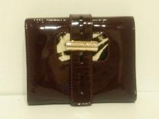 ジミーチュウ Wホック財布 - ボルドー×白×黒 ゼブラ柄