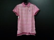 ポロラルフローレン 半袖ポロシャツ M レディース ピンク×白