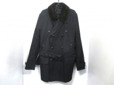 エルメス コート 50 メンズ 美品 黒×ダークブラウン HERMES