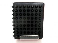 クリスチャンルブタン 2つ折り財布 スパイクスタッズ 黒×レッド
