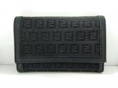 フェンディ 3つ折り財布 ズッカ柄 8M0011 黒 ジャガード×レザー