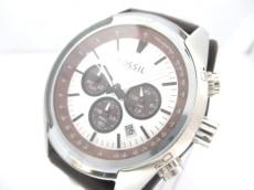 フォッシル 腕時計 美品 CH-2565 メンズ クロノグラフ シルバー