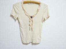 ブルマリン 半袖セーター レディース ベージュ×ピンク