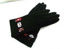 ルルギネス 手袋 レディース 美品 黒 刺繍 ウール LULUGUINNESS
