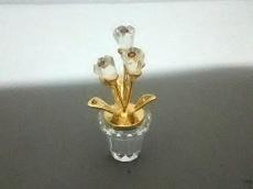 スワロフスキー 小物 美品 クリア×ゴールド 置物/鉢植え