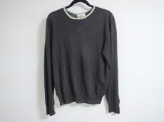 エルメス 長袖セーター L メンズ 黒×アイボリー×グレー HERMES