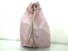 プラダ ポーチ - ピンクベージュ 巾着型 ナイロン PRADA