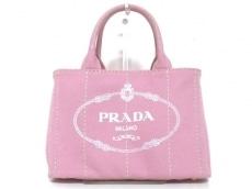 プラダ ハンドバッグ CANAPA 1BG439 ピンク×白 キャンバス