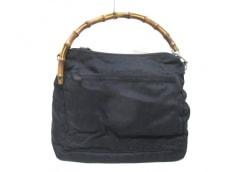 グッチ ハンドバッグ バンブー - 黒×ブラウン ナイロン×ウッド
