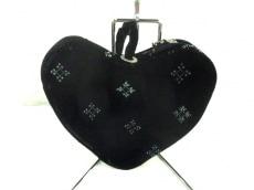 アニエスベー セカンドバッグ 黒×ライトグリーン ベロア