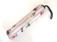 ルルギネス 折りたたみ傘 パープル×アイボリー×マルチ