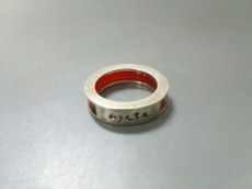 アガット リング 金属素材×プラスチック シルバー×レッド