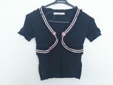 ブルマリン 半袖セーター レディース 黒×ベージュ 薄手/フリル