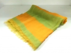 エルメス ストール(ショール)美品  オレンジ×ライトグリーン シルク