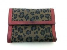 フェンディ 3つ折り財布 美品 - アイボリー×黒×レッド 豹柄