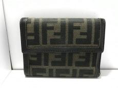 FENDI(フェンディ) 3つ折り財布 ズッカ柄 黒×ブラウン