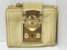 ミュウミュウ 2つ折り財布 - 5M1106 ベージュ×ゴールド miumiu
