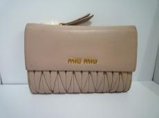 ミュウミュウ 3つ折り財布 ギャザーウォレット 5M1225 ベージュ