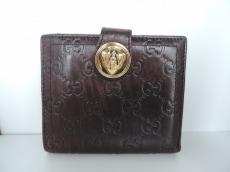 グッチ Wホック財布 ヒステリア 190349 ダークブラウン レザー