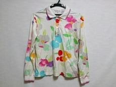 レオナール 長袖ポロシャツ サイズ40 M レディース美品  白×マルチ