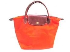 ロンシャン ハンドバッグ オレンジ×ブラウン ナイロン×レザー
