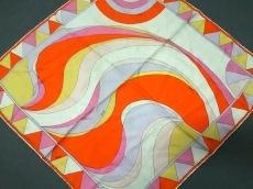 エミリオプッチ スカーフ 美品 オレンジ×アイボリー×マルチ