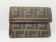 FENDI(フェンディ) 3つ折り財布 ズッカ柄 ダークブラウン×黒