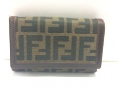 FENDI(フェンディ) 2つ折り財布美品  ズッカ柄 ダークブラウン×黒