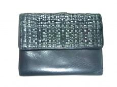ジバンシー Wホック財布 黒×ダークグリーン 編み込み レザー