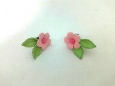 スタージュエリー ピアス美品  シルバー ピンク×グリーン フラワー