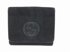 GUCCI(グッチ) Wホック財布 ダブルG - 黒 スエード×レザー