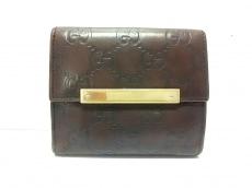 グッチ Wホック財布 シマライン 112716 ダークブラウン レザー