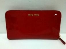 miumiu(ミュウミュウ) 長財布 - レッド リボン/ラウンドファスナー