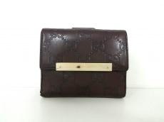 グッチ Wホック財布 メタルバー/シマライン 112716 ダークブラウン