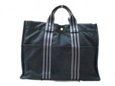 エルメス トートバッグ フールトゥトートMM 黒×グレー キャンバス