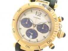 カルティエ 腕時計 パシャ38 W3000951 メンズ アイボリー×ネイビー