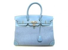 エルメス ハンドバッグ美品  バーキン35 ブルージーン シルバー金具