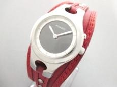 フォッシル 腕時計 ES-9739 レディース 革ベルト 黒×シルバー