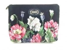 FEILER(フェイラー) ポーチ美品  黒×マルチ 花柄 パイル