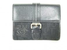 クリスチャンディオール Wホック財布 ロゴグラム 黒 フラワー/刺繍