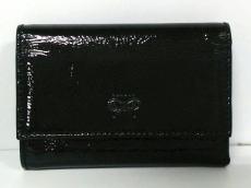 アニヤハインドマーチ Wホック財布 黒 エナメル(レザー)