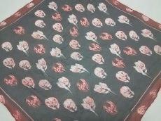 アレキサンダーマックイーン スカーフ 黒×ボルドー×ライトグレー